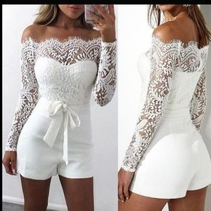 Other - White lace off the shoulder romper